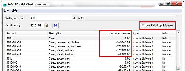 What does Sage GL Account Roll-up function do?
