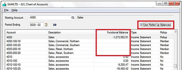 Sage GL Account Roll-up function