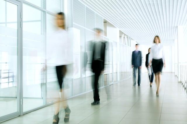 business people walking cloud