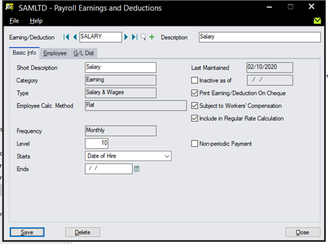 Sage 300 Payroll - Setup Earning, Deductions, Benefits, Accruals and General Ledger Distribution