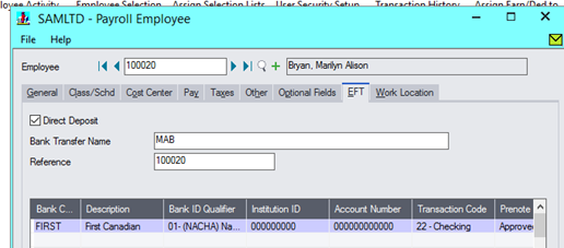 Sage 300 Payroll - EFT as a payment option