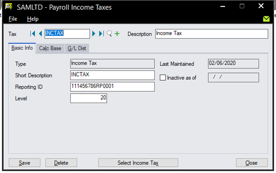 Sage 300 Payroll - Set up Tax and other Government Remittances and General Ledger Distribution